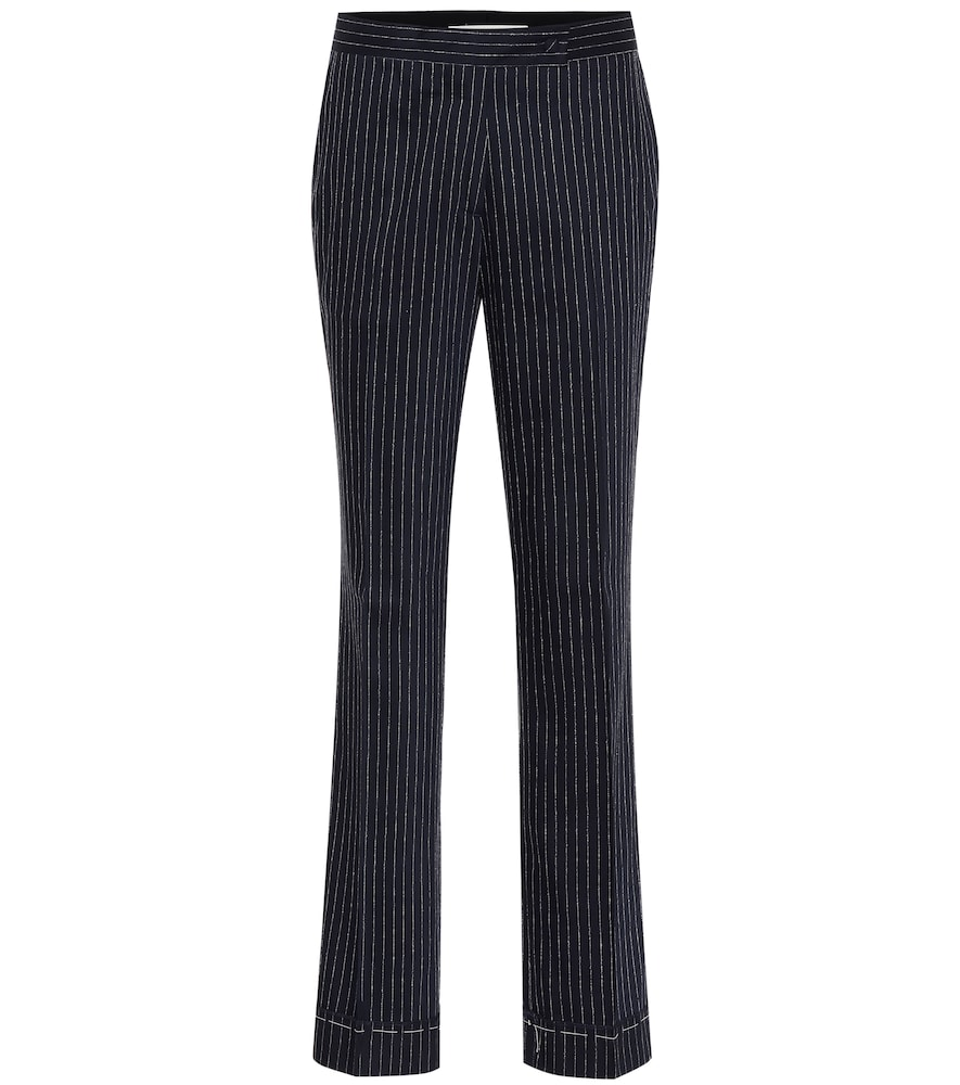 Navy And Silver Metallic Venice Pinstripe Trousers in Blue