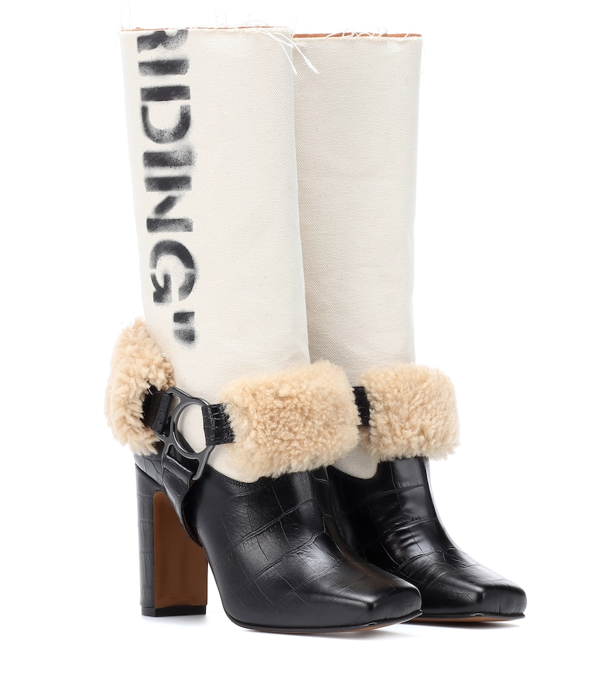 Beige For Riding Print Canvas Shearling Boots in Neutrals