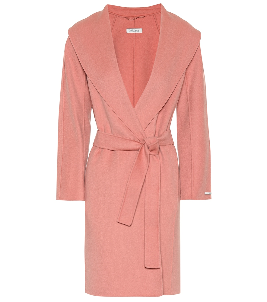 Messi Wool Wrap Coat in Pink