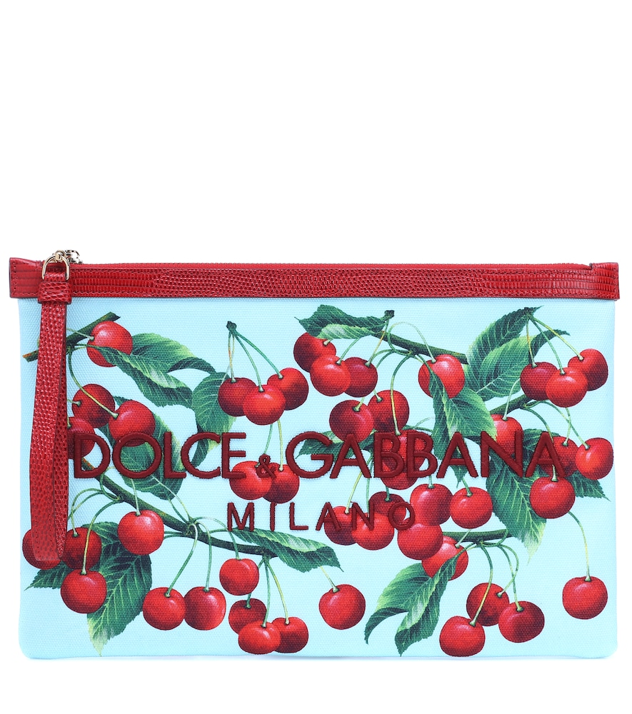 DOLCE & GABBANA | Exclusive To Mytheresa - Cherry Printed Embroidered Pouch | Goxip