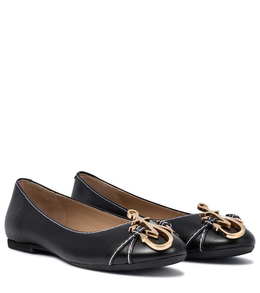 JW ANDERSON LOGO LEATHER BALLET FLATS