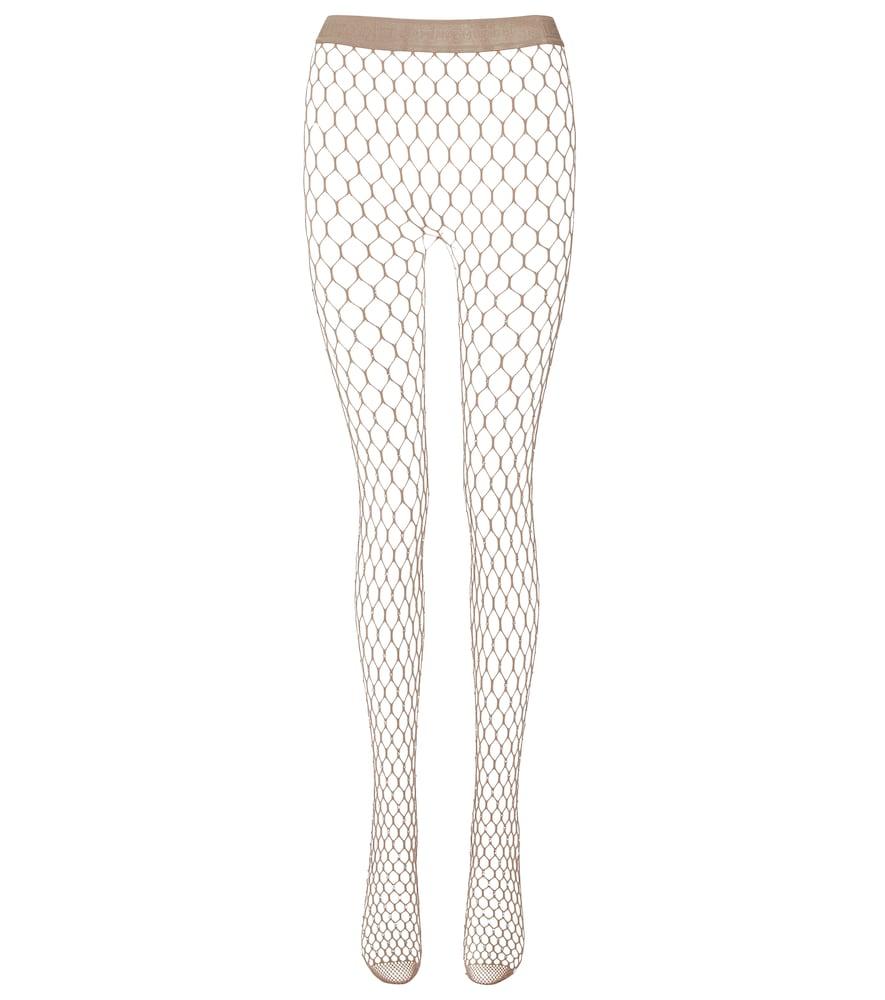 x Amina Muaddi crystal-embellished fishnet tights