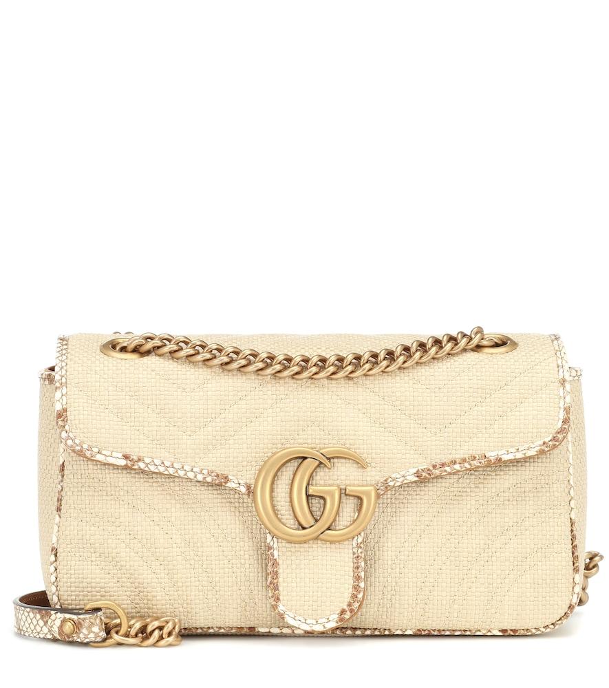 GG Marmont Small raffia shoulder bag