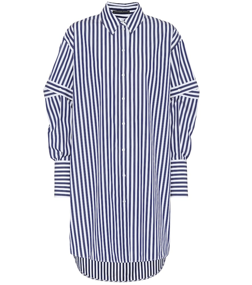 OVERSIZED CUTOUT STRIPED COTTON-POPLIN SHIRT