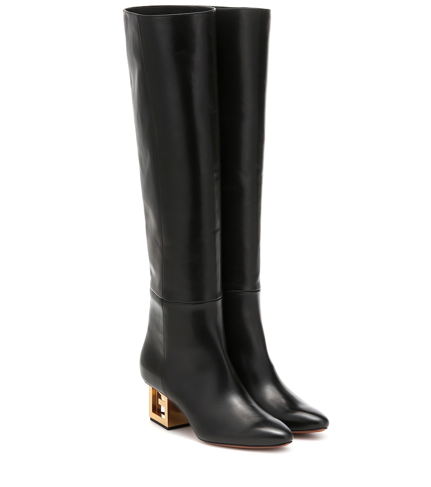 Triangle leather over-the-knee boots