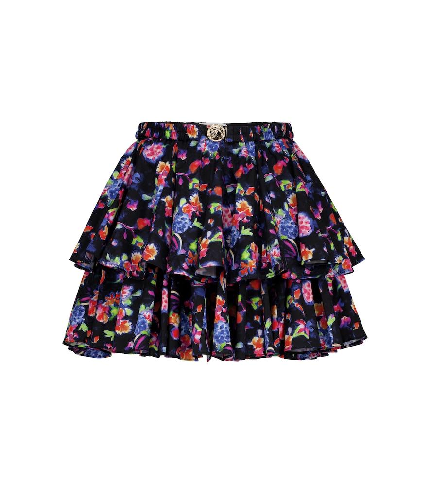 Reign floral stretch-cotton miniskirt
