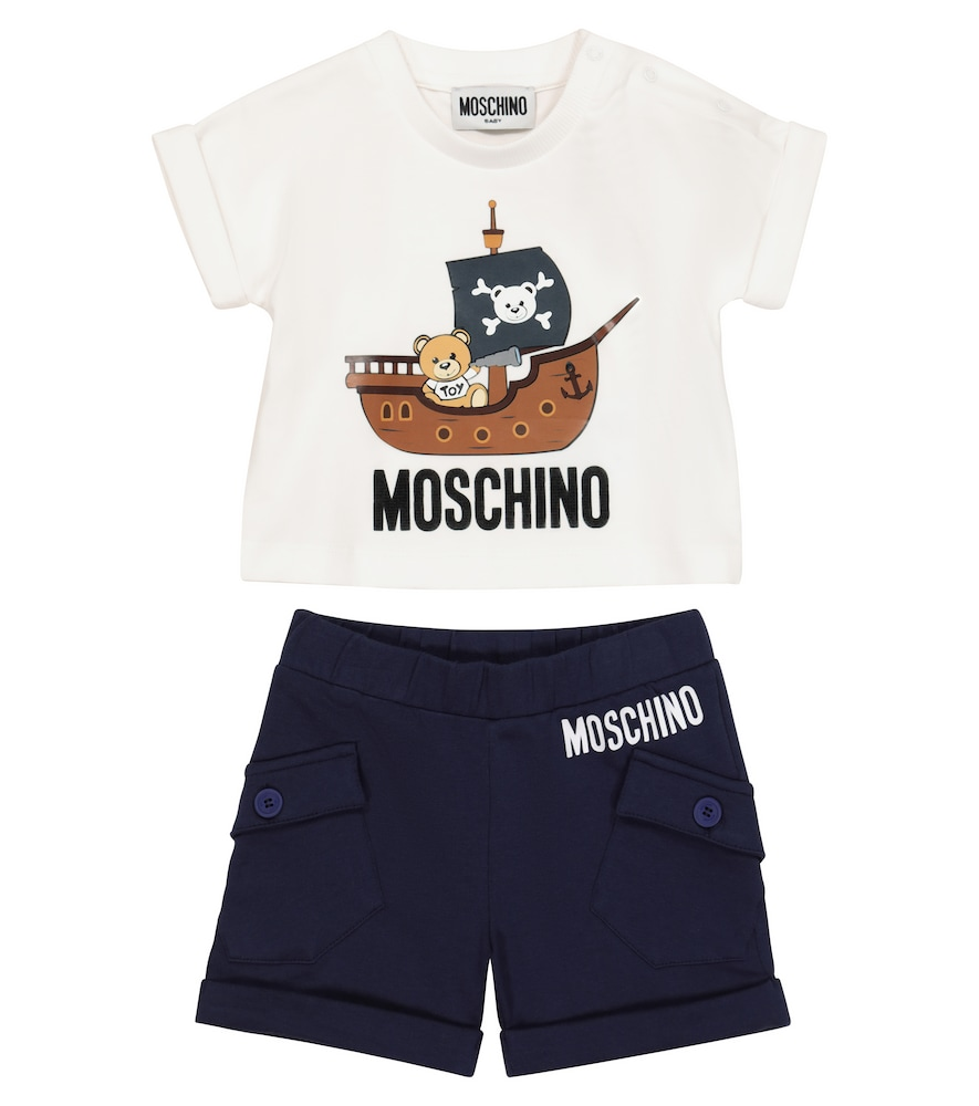 Moschino BABY COTTON T-SHIRT AND SHORTS SET