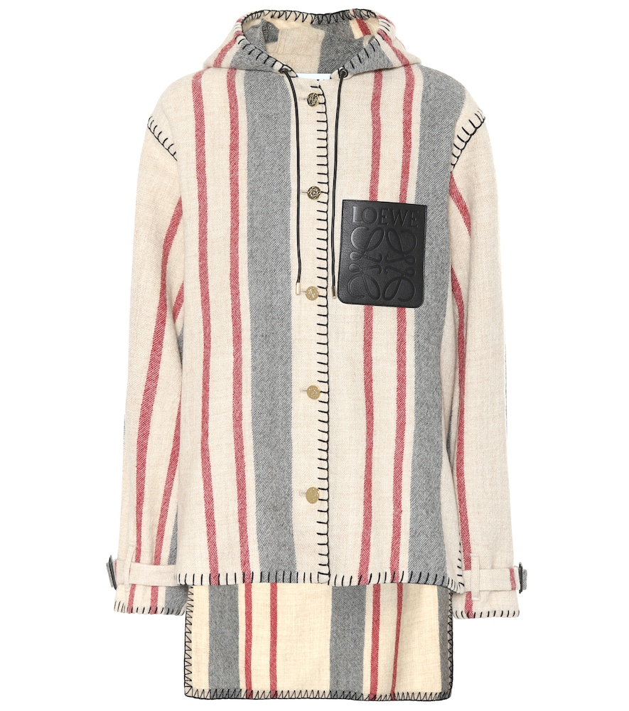 Hooded Striped Leather-Trimmed Wool-Canvas Jacket, Beige