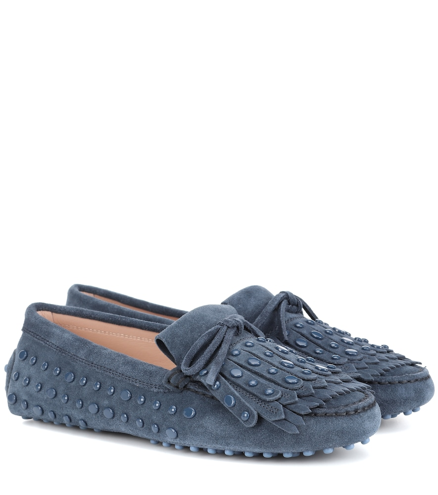 GOMMINO STUDDED SUEDE LOAFERS