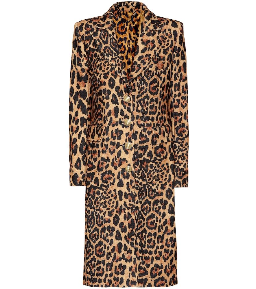 Paco Rabanne Coats LEOPARD-PRINT WOOL-BLEND COAT