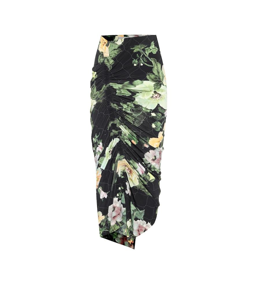 Xenie floral stretch-crêpe midi skirt