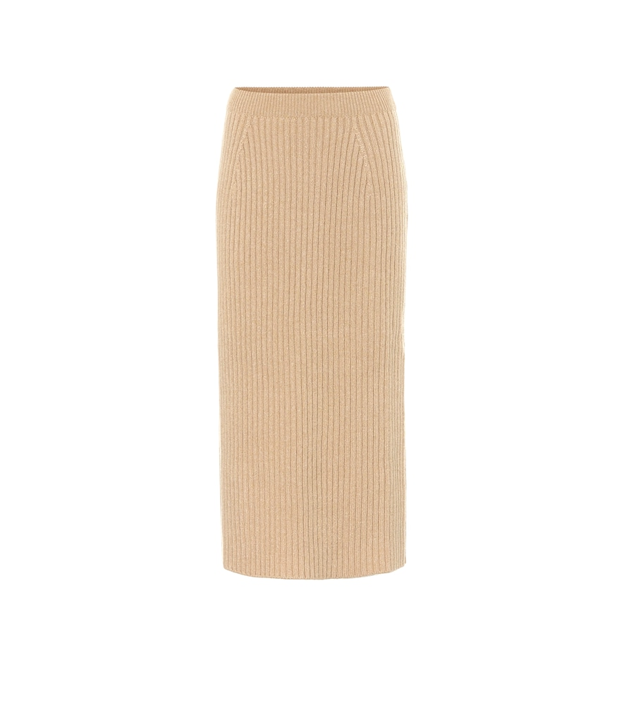 Tribeca ribbed-knit cashmere midi skirt