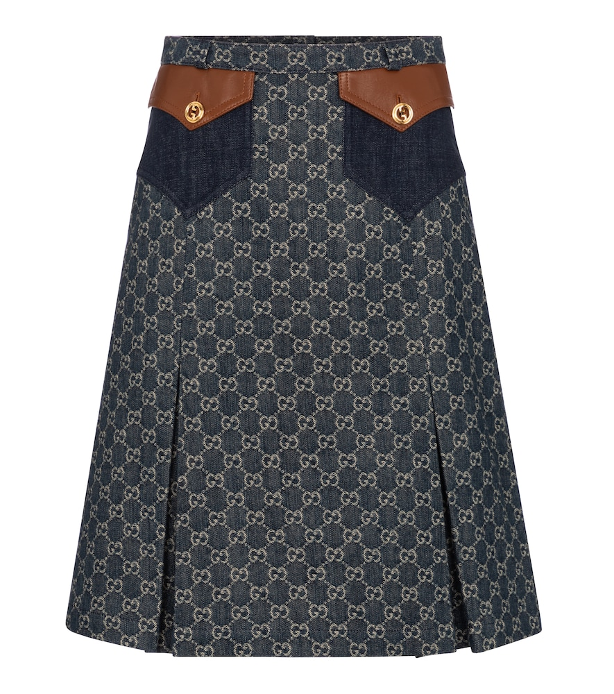 GG jacquard denim midi skirt