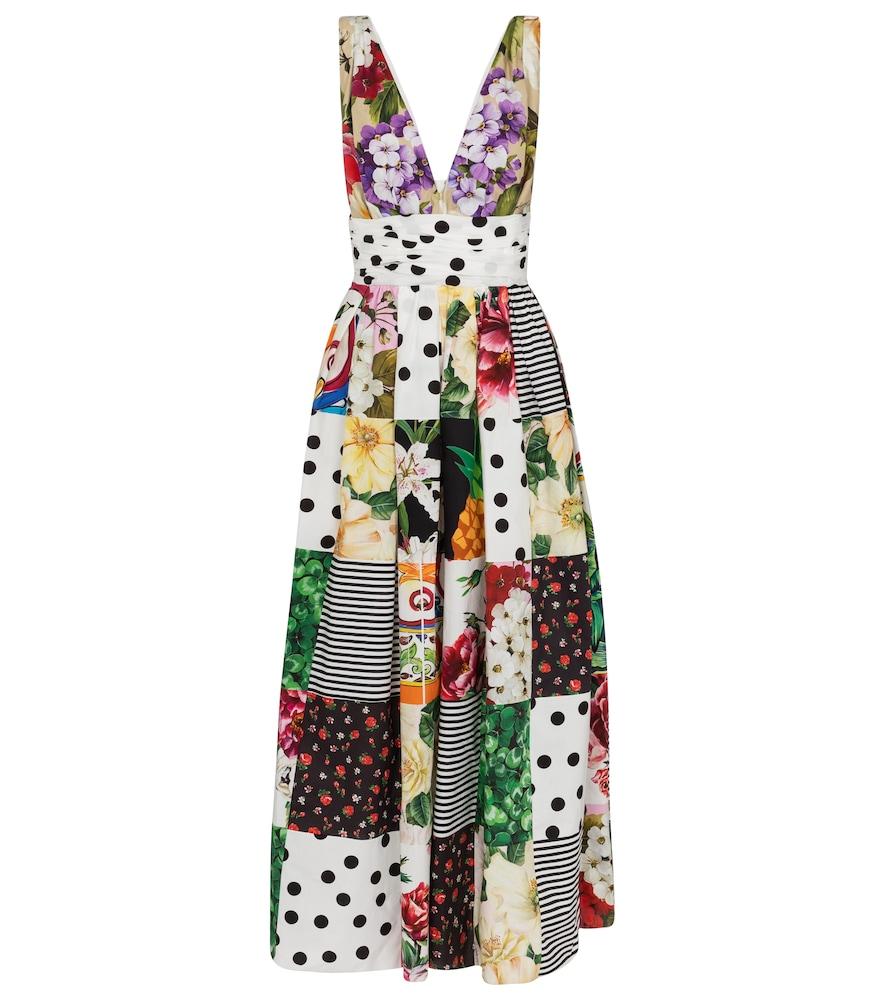 Dolce & Gabbana Cottons PATCHWORK COTTON POPLIN MAXI DRESS