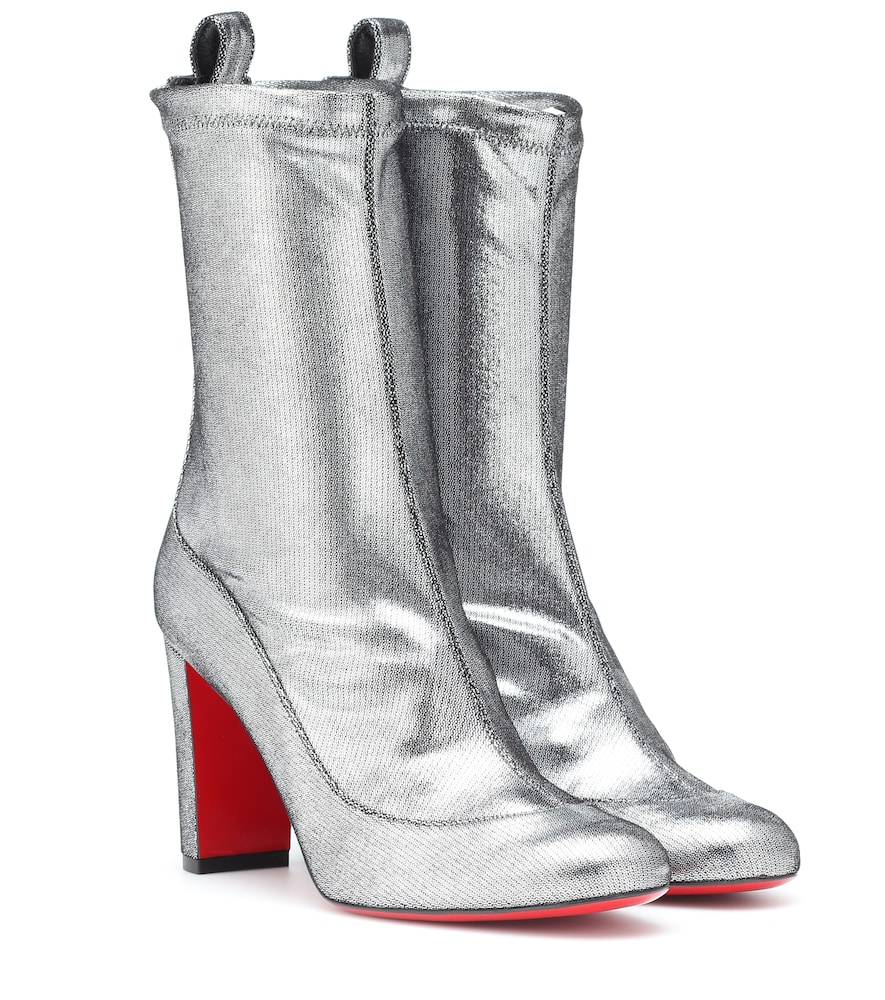 6a2922eb5dd Christian Louboutin Gena 85 Metallic Leather Boots In Silver ...