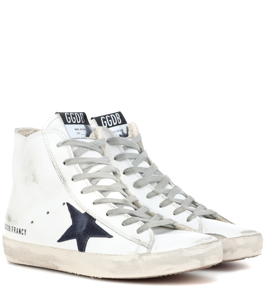Deluxe Brand Distressed High-Top Sneakers in White
