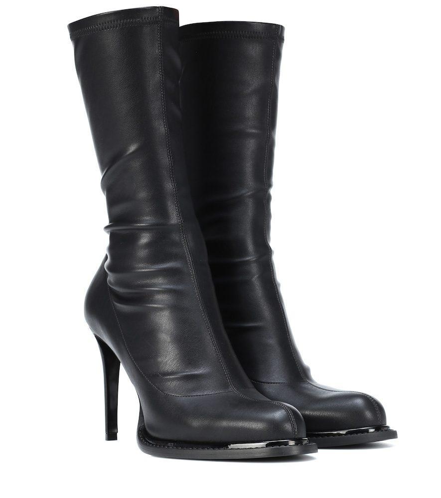Faux Leather Ankle Boots in Black