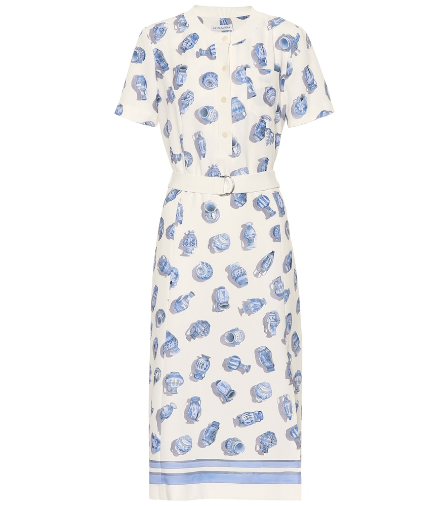 Caletta Short-Sleeve Belted Pottery-Print A-Line Midi Dress in White