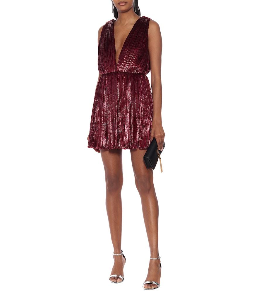 Pleated lamé velvet minidress by Saint Laurent