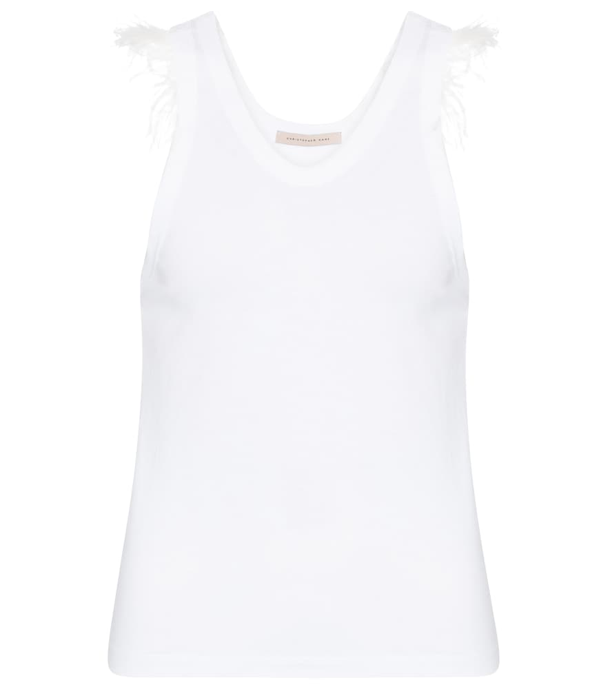 Christopher Kane Tanks FEATHER TRIMMED COTTON-JERSEY TANK TOP