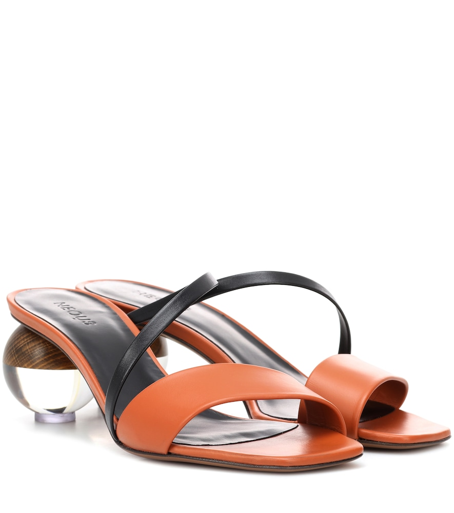 NEOUS Gia Leather Sandals in Brown