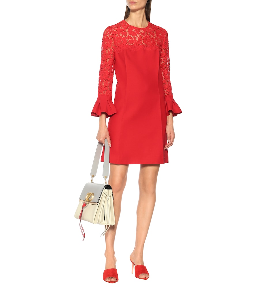 Lace wool and silk-blend dress by Valentino