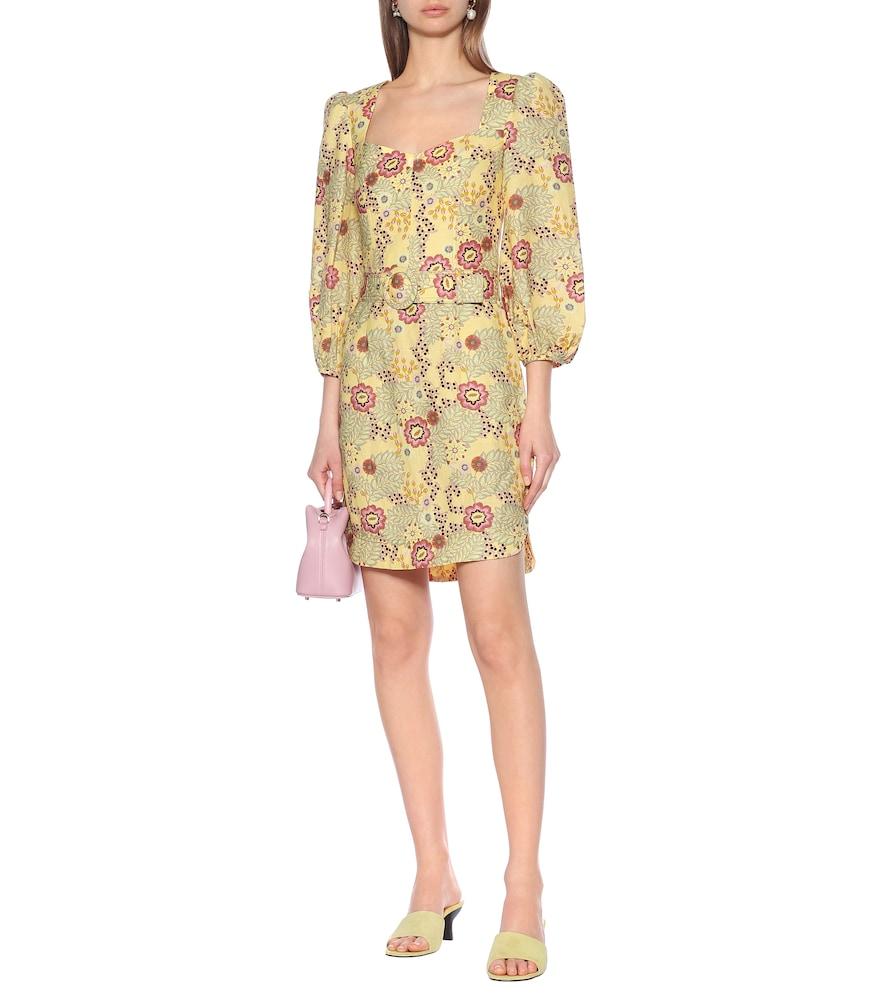 Sahara floral linen-blend minidress by Rebecca Vallance