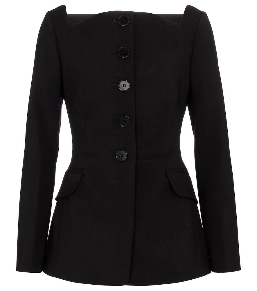 Carolina Herrera SQUARE-NECK WOOL-BLEND BLAZER