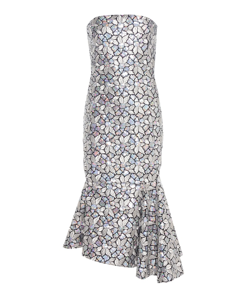Sequinned and embroidered silk dress