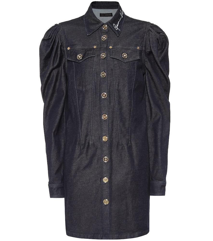 Robe brodée en jean - Versace - Modalova