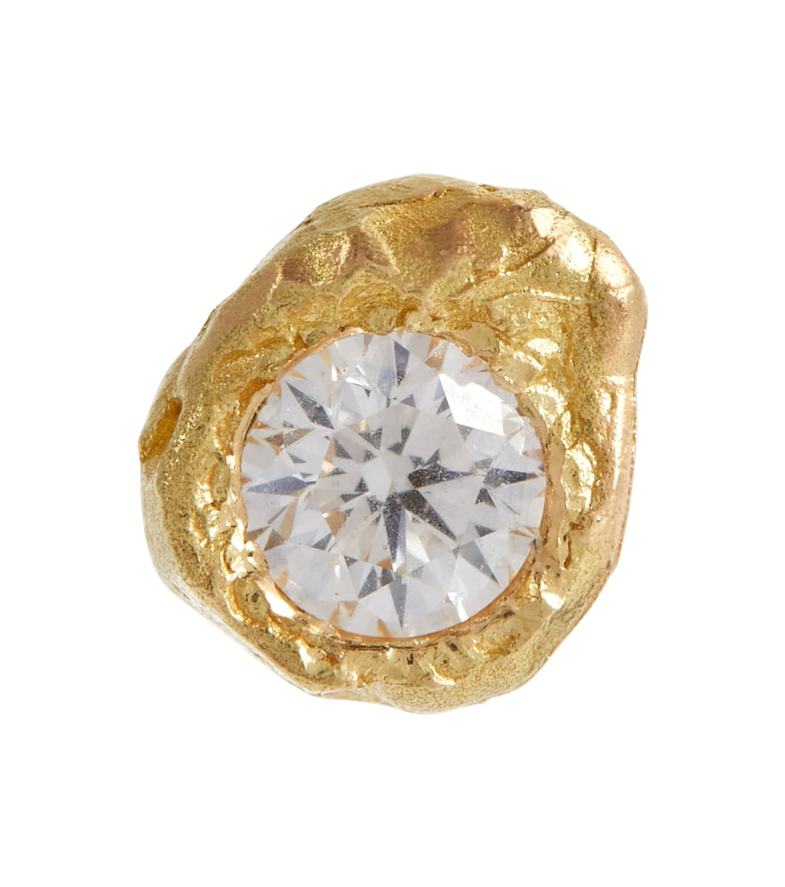 Solitaire 18kt gold single earring with diamond