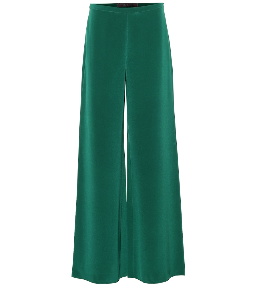 Affetto Silk Trousers in Green