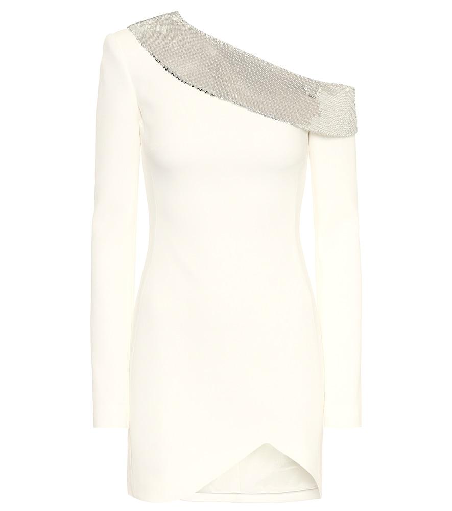 Robe asymétrique en crêpe à sequins