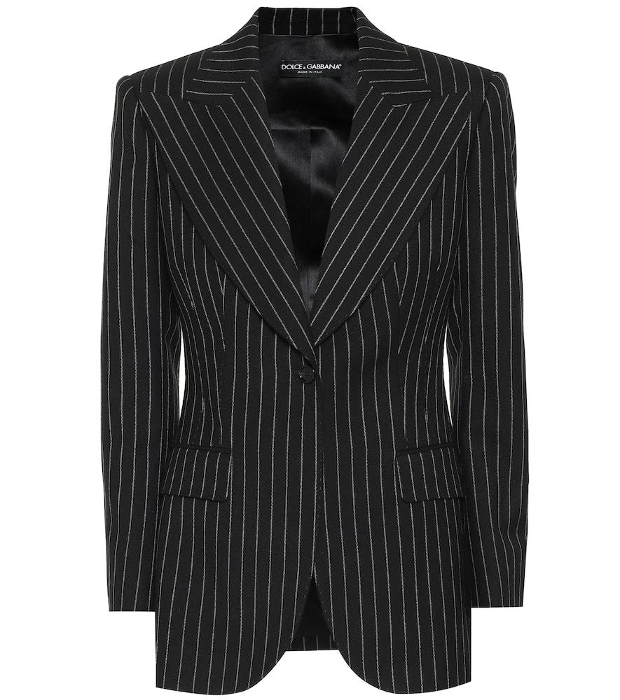 Dolce & Gabbana Pinstripe Wool-blend Blazer In Black