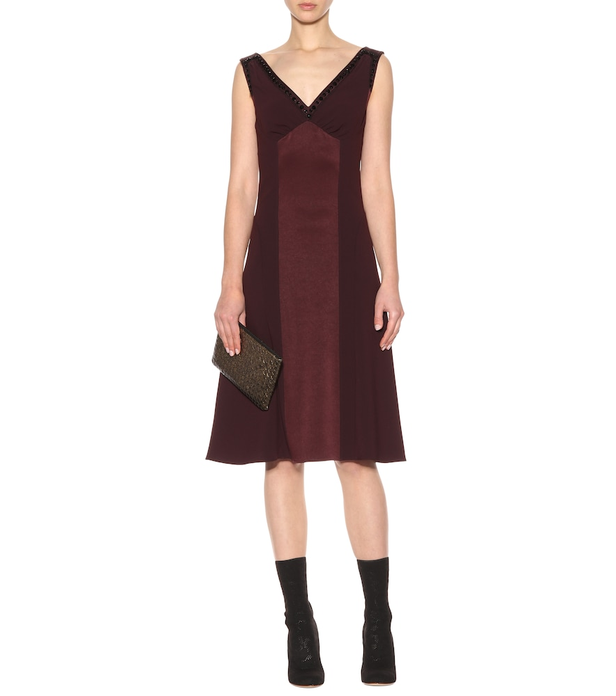 Sleeveless satin and crêpe dress by Bottega Veneta