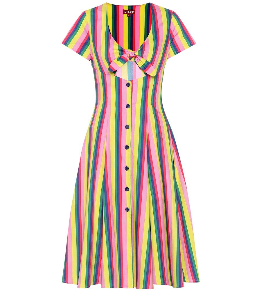 Alice Tie-Front Striped Stretch-Cotton Poplin Dress, Multicoloured