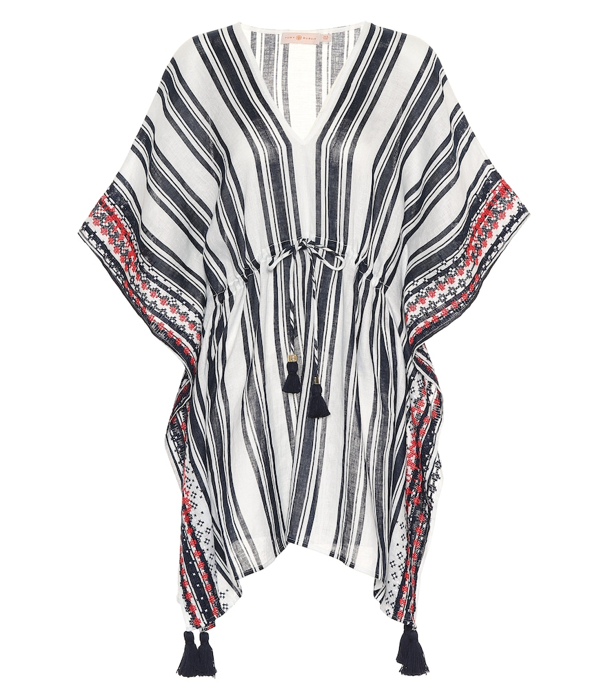 Raven Striped Linen Beach Caftan in Blue