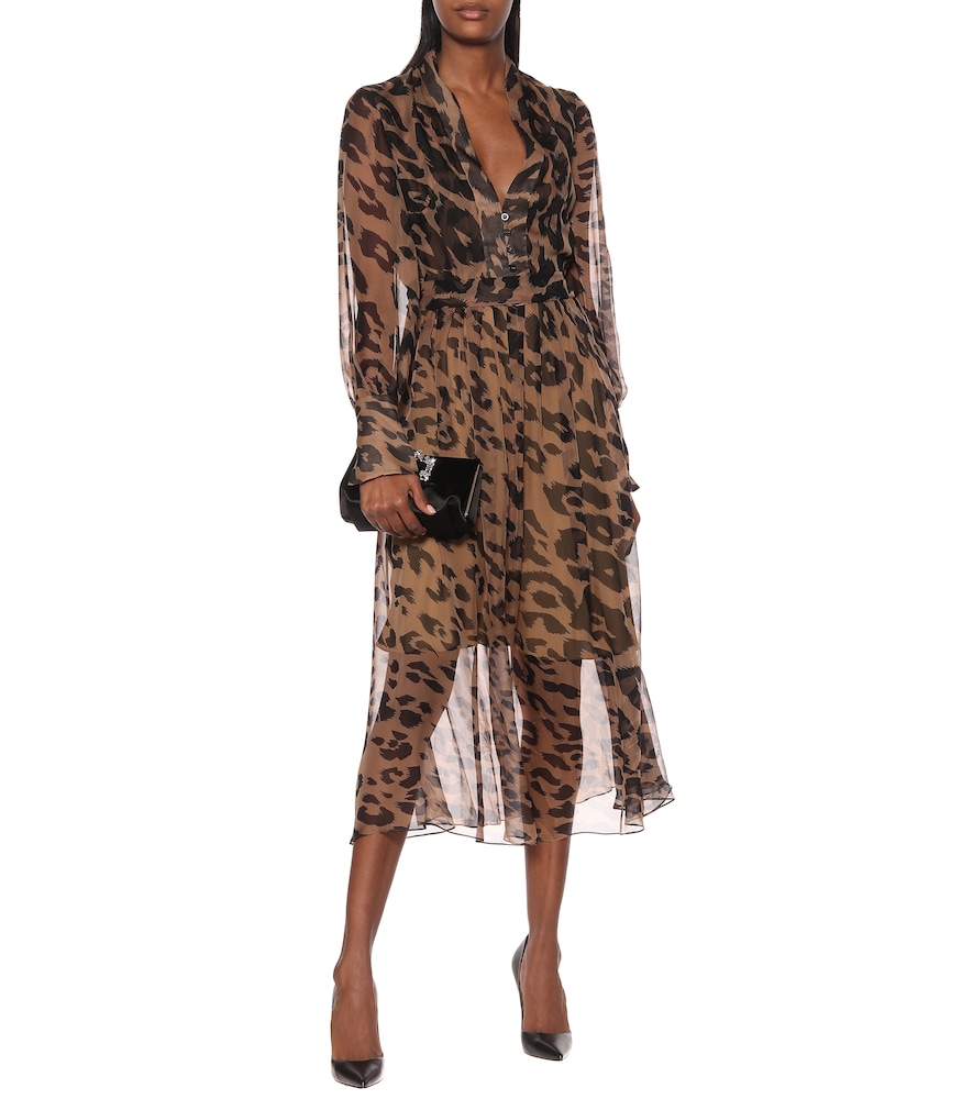 Leopard silk-chiffon midi dress by Oscar de la Renta