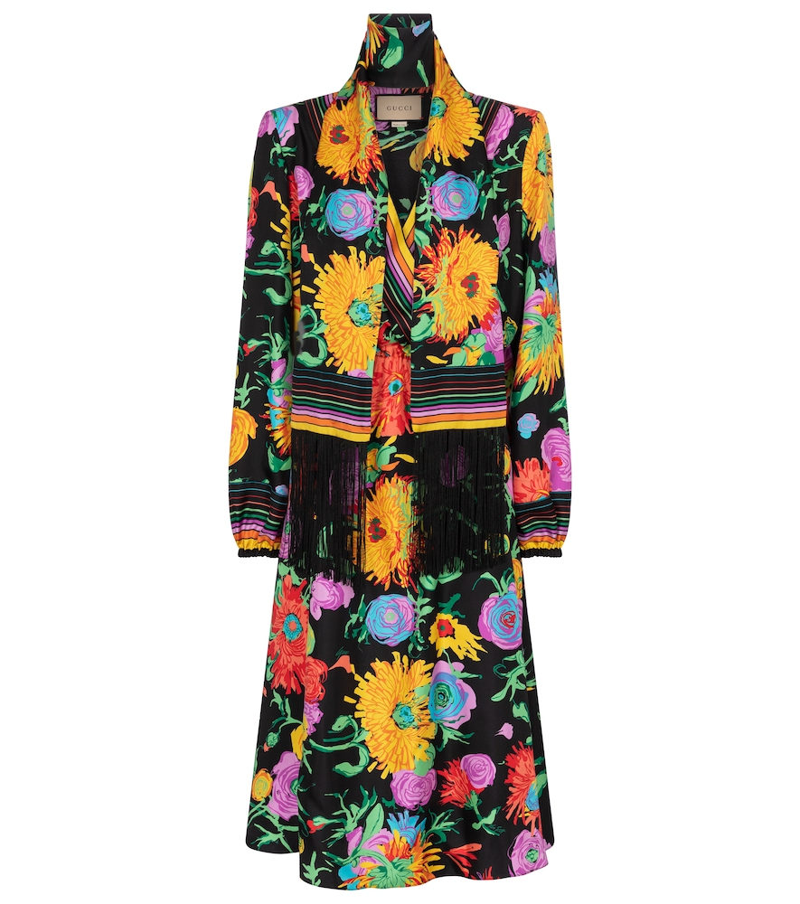 Gucci X KEN SCOTT FLORAL SILK TWILL MIDI DRESS