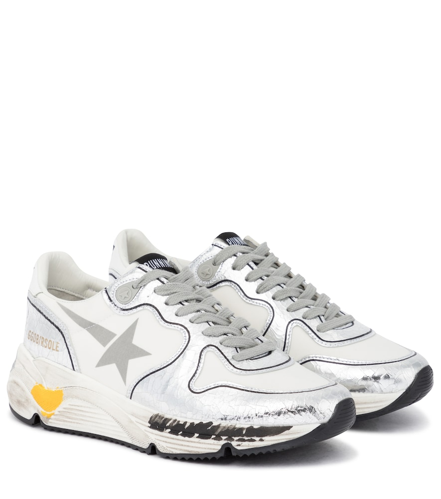Running Sole leather-trimmed sneakers