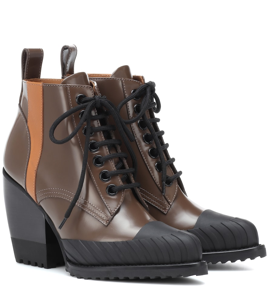 Rylee Leather Lace-Up Boots in Brown