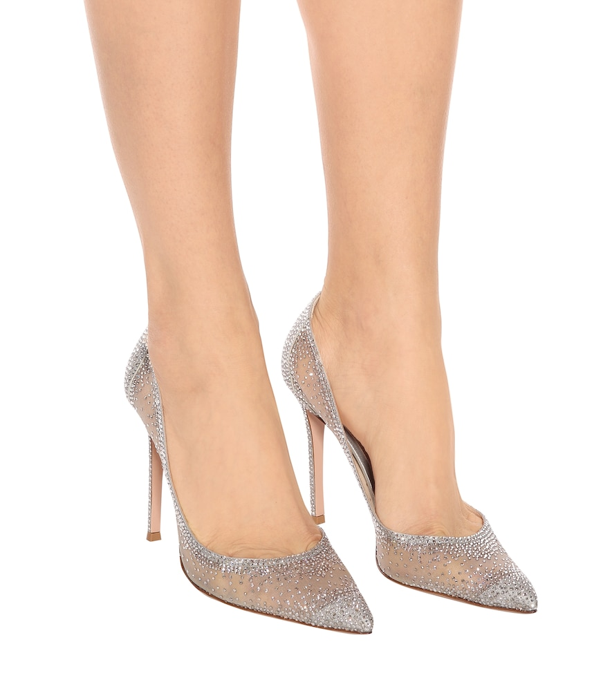 23ebaccab3a8 Gianvito Rossi Rania 105 Crystal-Embellished Pumps In Silver
