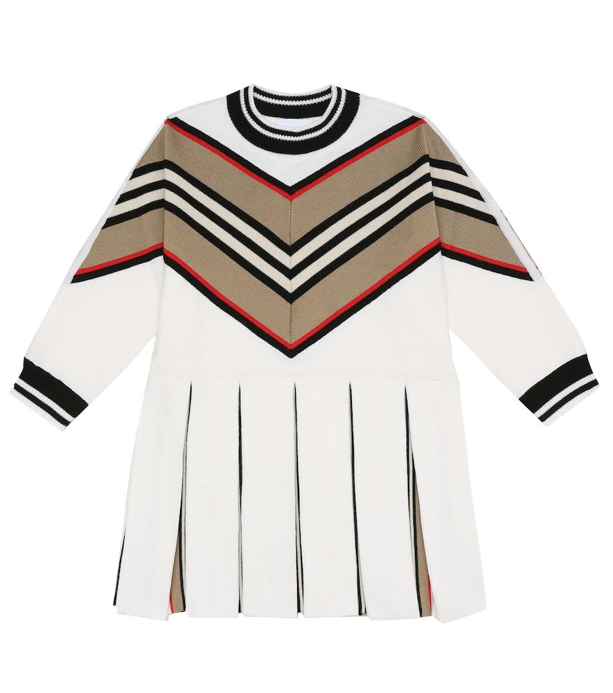 Burberry Kids' Icon Stripe Long Sleeve Wool Blend Sweater Dress In White