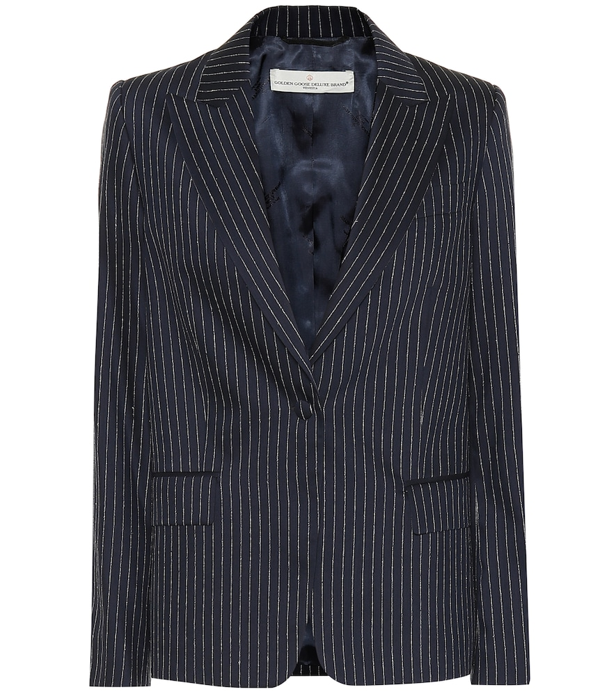 Venice Pinstriped Wool And Silk-Blend Blazer, Blue