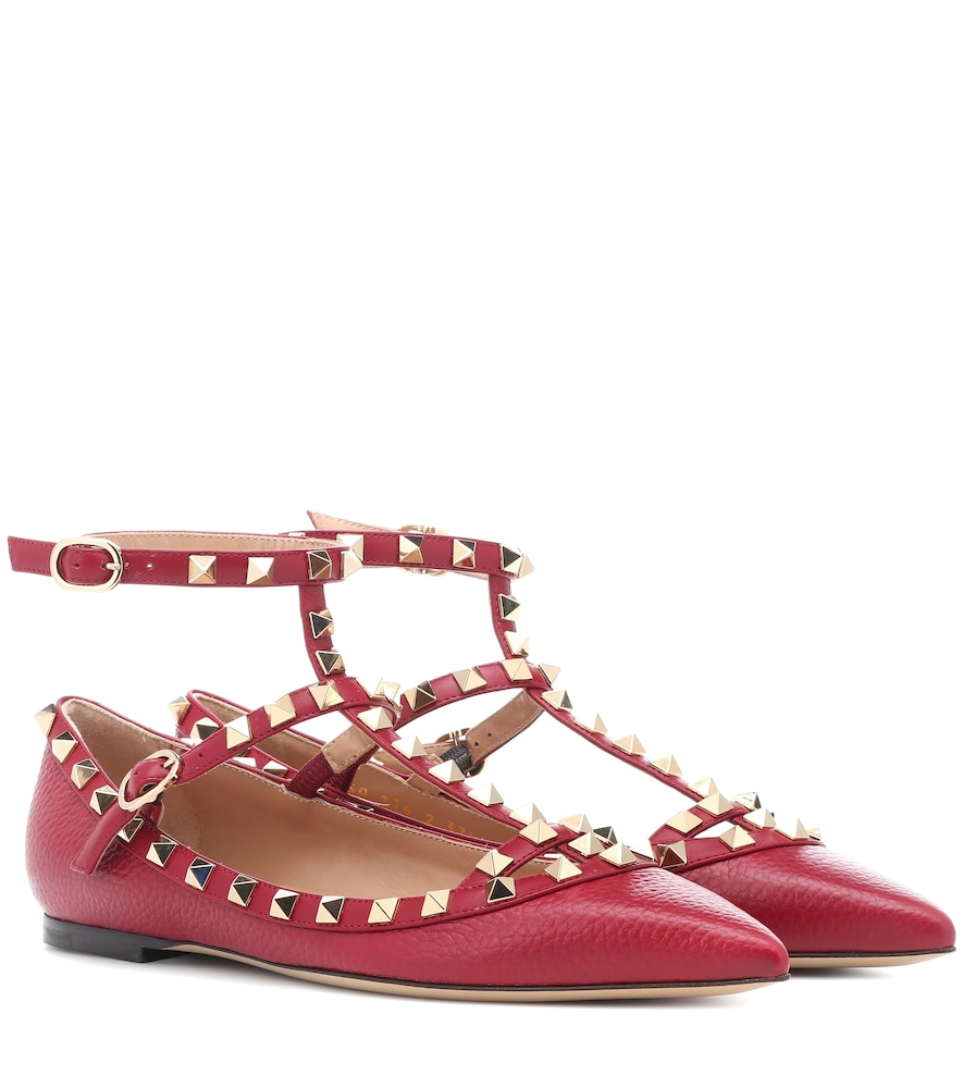 ROCKSTUD LEATHER BALLERINAS