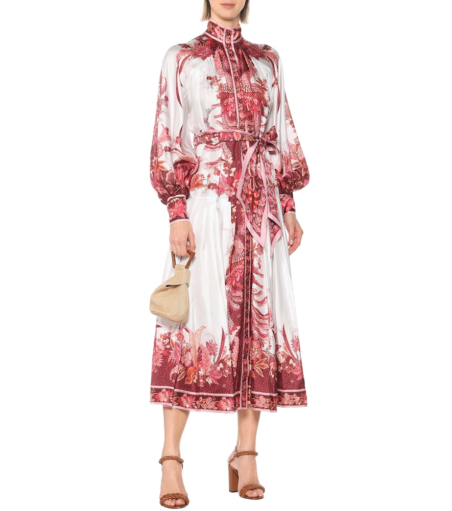 Wavelength silk-twill midi dress by Zimmermann