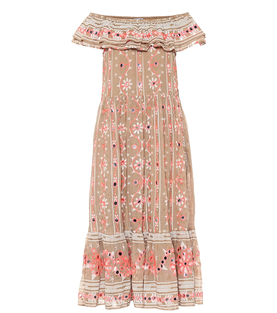 Embellished cotton midi dress
