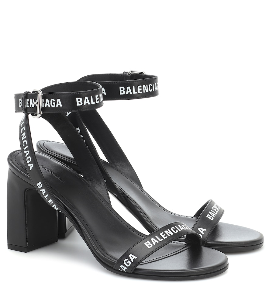 Logo-print Leather Block-heel Sandals