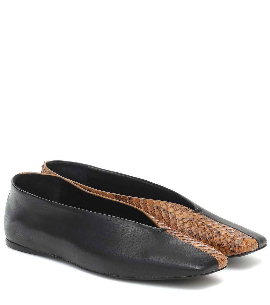 Louann snake-effect leather ballet flats