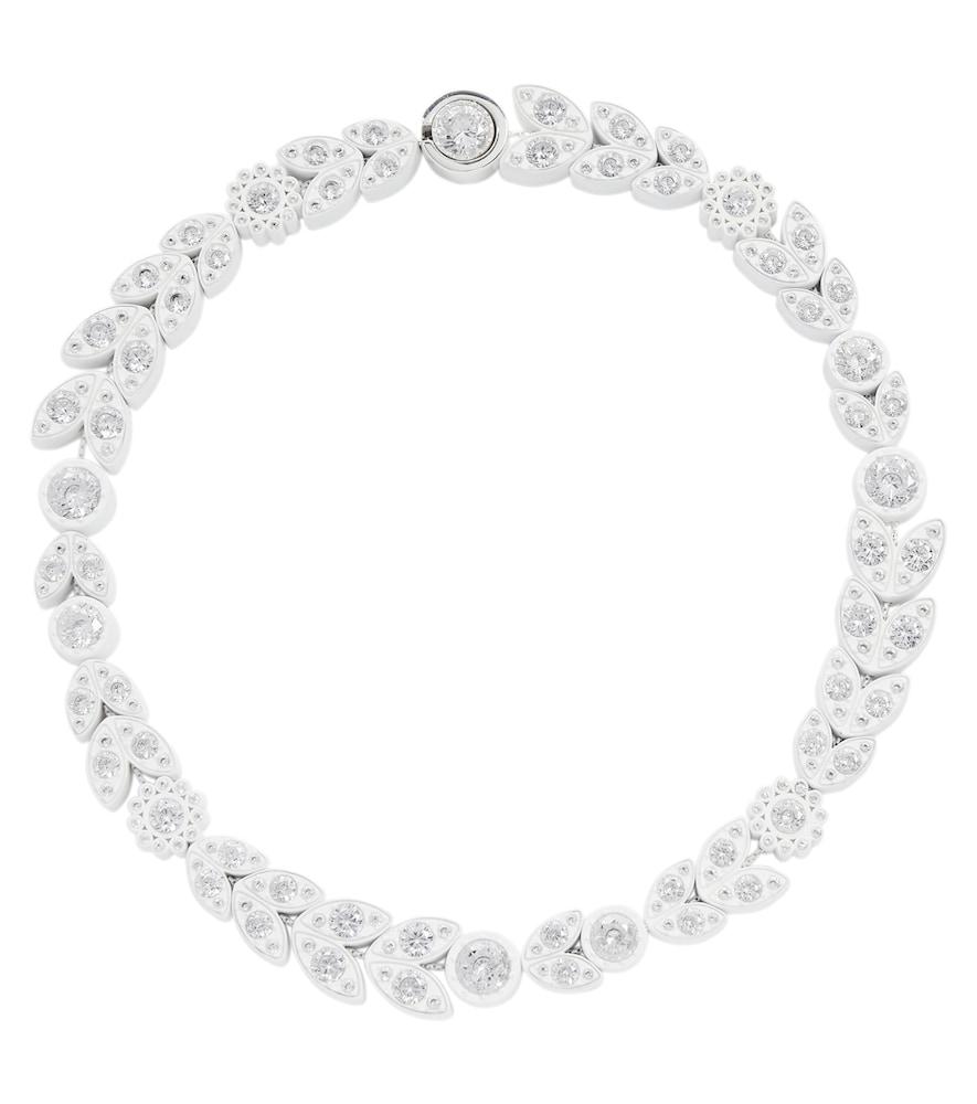 Crystal-embellished silver choker necklace